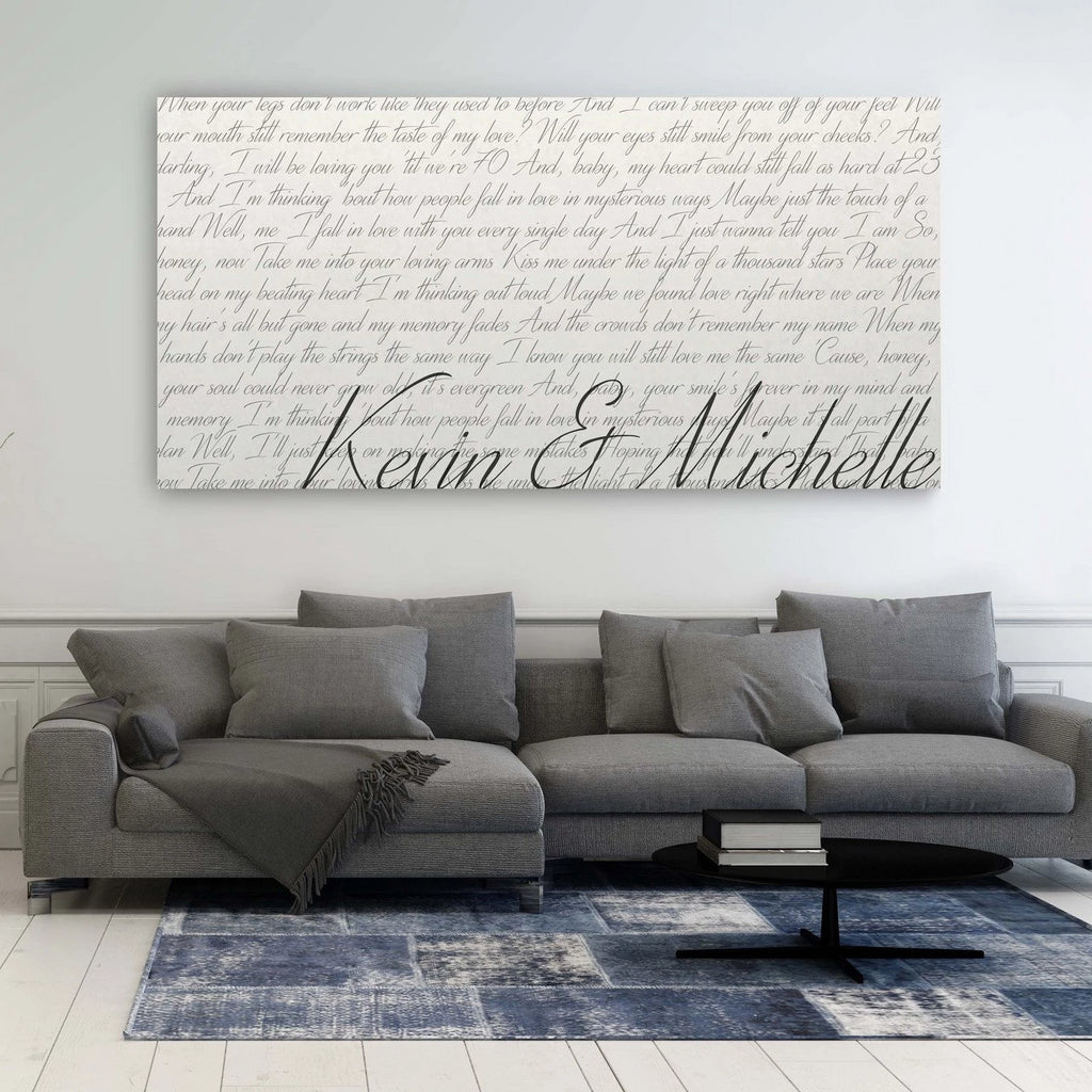 First Dance Song Canvas - A Design Covering The Entire Canvas With Lyrics - Canvas Vows