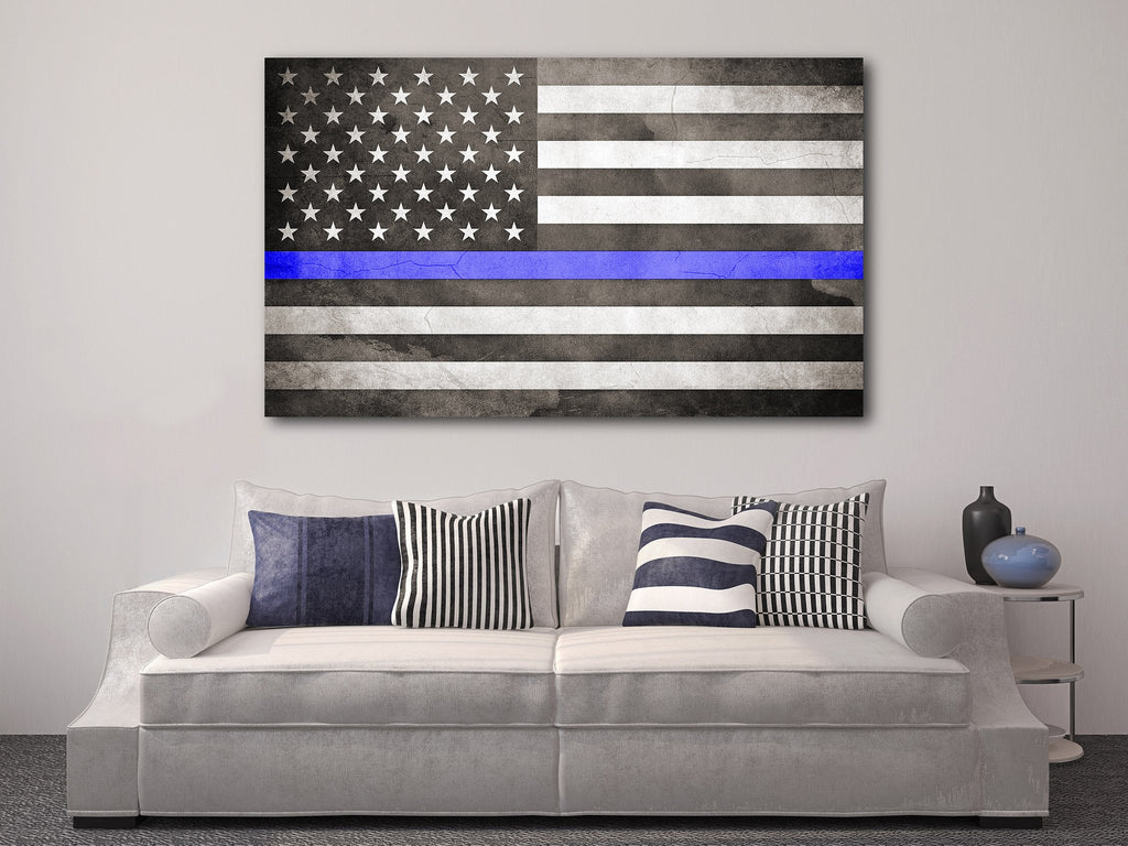 Thin Blue Line Flag - Personalized Canvas
