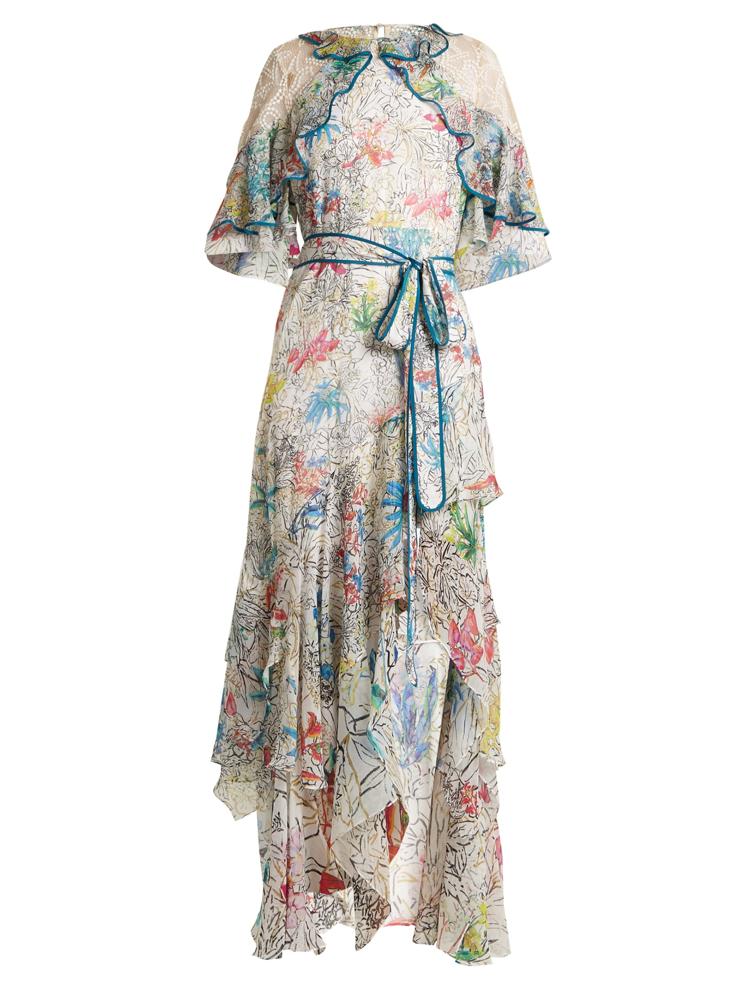 kATRINA kIAF Floral-print ruffled silk-georgette dress
