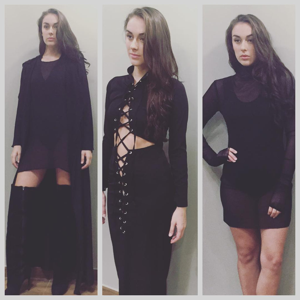 Capes are trending , and our floor length black is ❤