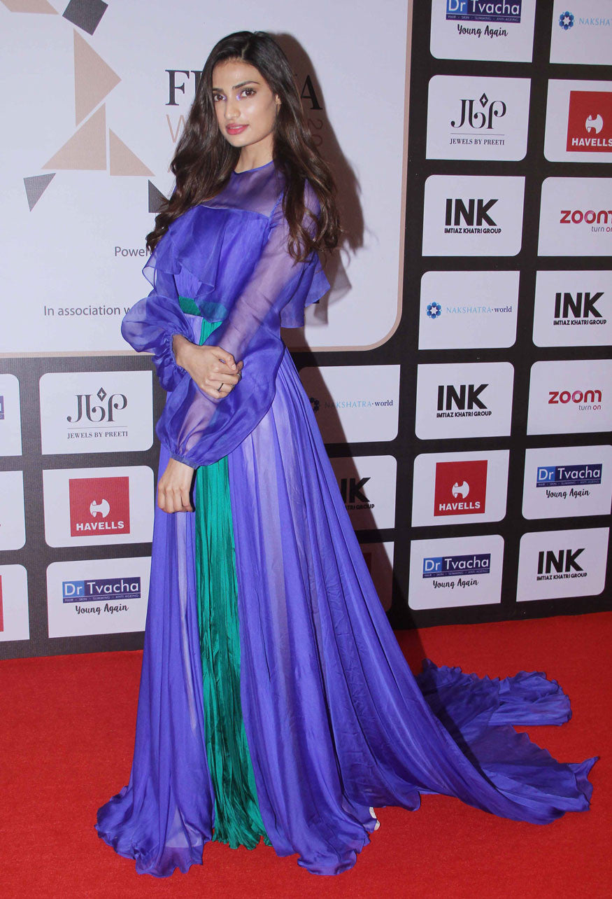 Athiya Shetty In Colour Blocked Gown From Bhibhu Mohapatra's Spring 2017 Collection