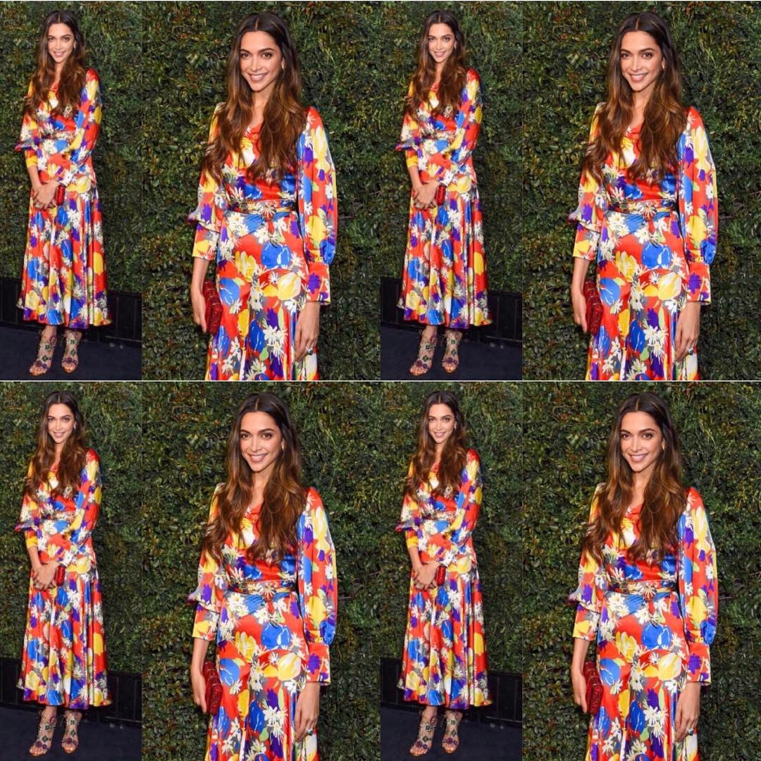 Deepika Padukon attended the Chanel Pre-Oscar dinner Duro Olowu multicolor Printed Dress