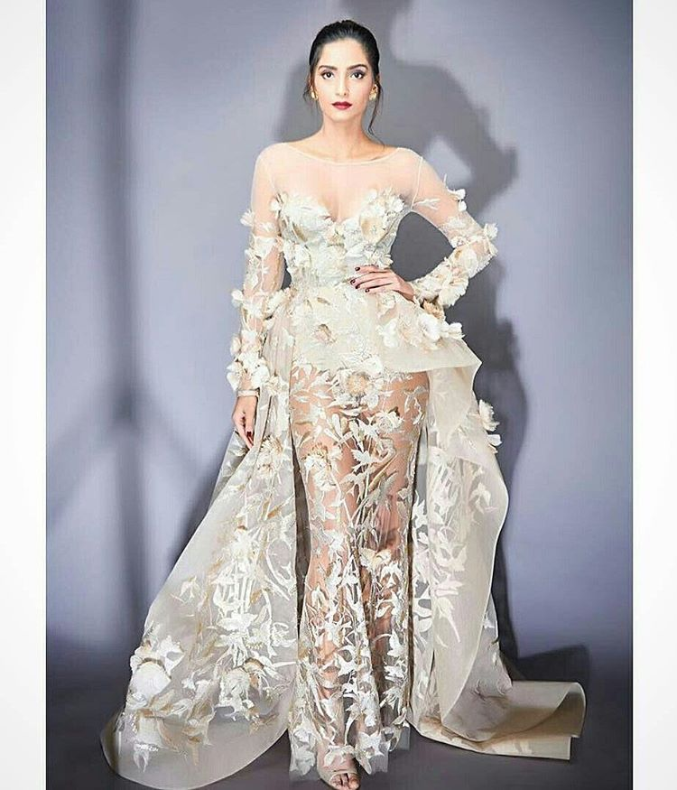 Sonam Kapoor in Elie Saab designer long dress western wear Jio award dress