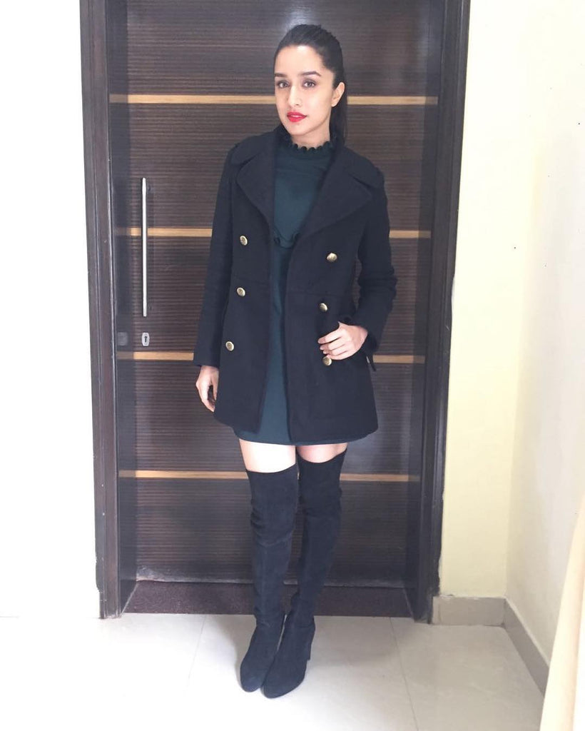 shraddha kapoor in black long coat