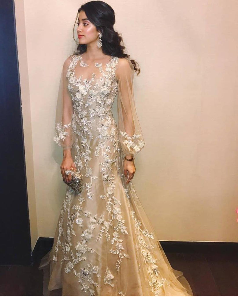 Jhanvi Kapoor is Looking So angelic in this Manish Malhotra's Golden dress Gown Western Wear
