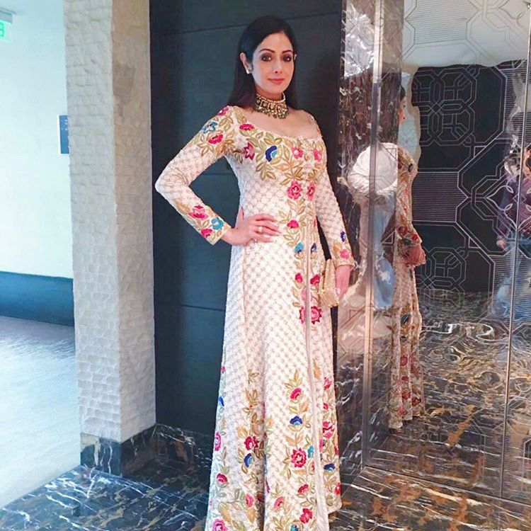 Shridevi in Manish Malhotra's Designer Front open long slit Straight Pant Salwar Suit Indian Wear