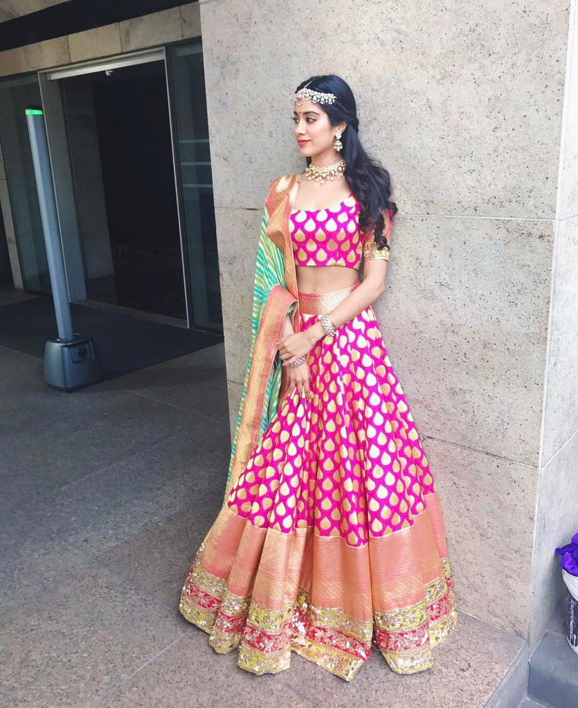 Shridevi's Daughter Jhanvi Kapoor in Traditional Handloom Banarasi Silk Lehanga Top Lehariya Dupatta Indianwear Manish Malhotra