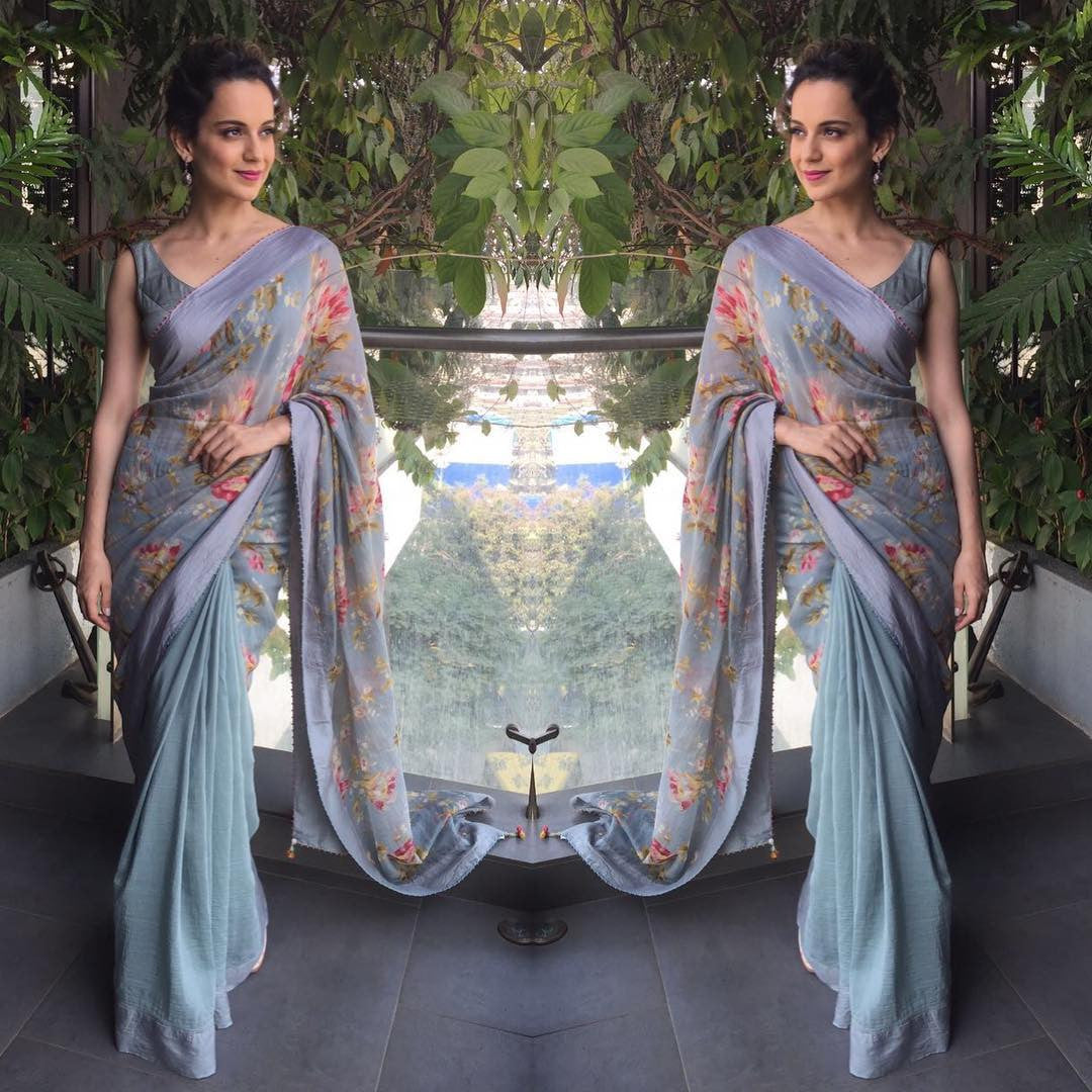 Kangana Ranaut in blue floral print saree Pero by Aneeth Arora at Rangoon Film Promotion