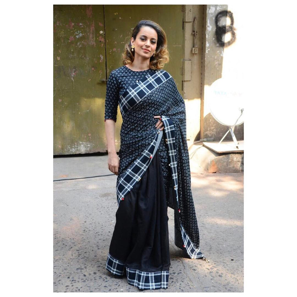K angana Ranaut in black check print saree at Rangoon Movie Promotion