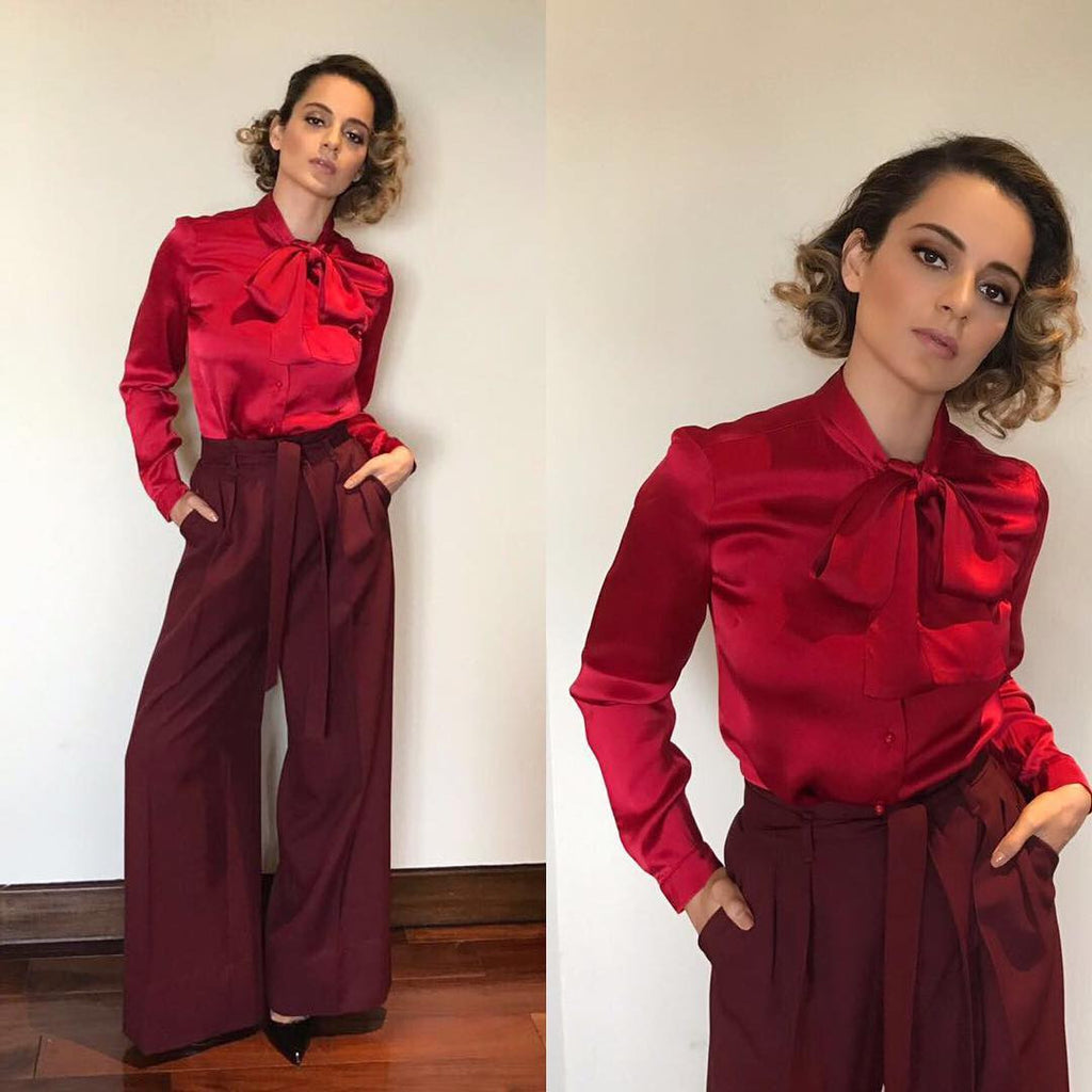 Kangna in Red shirt with brown pant at Rangoon Movie Promotion