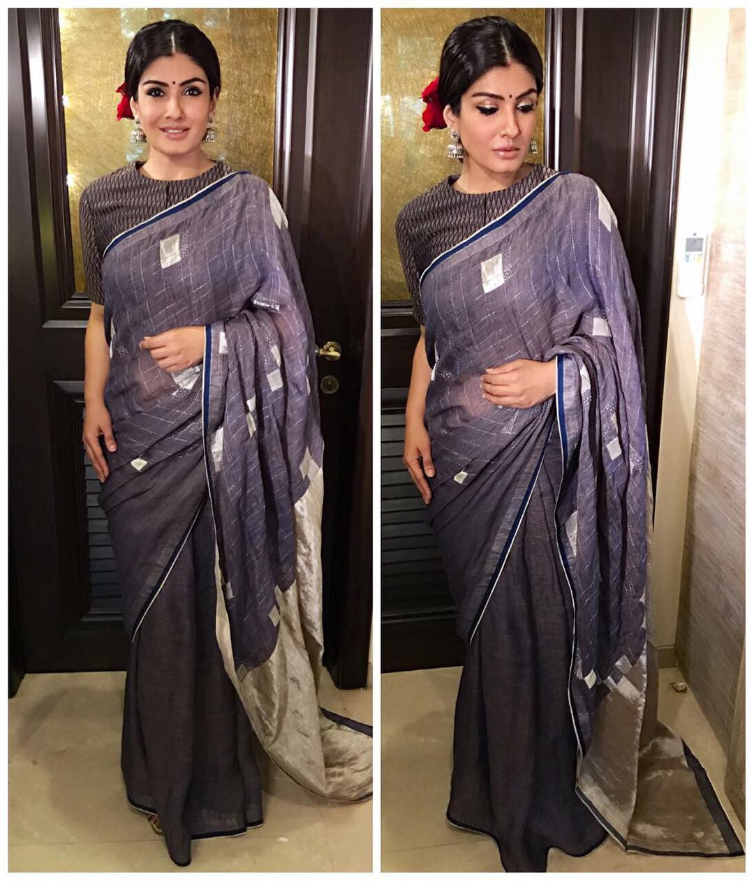 Raveena Tandon dressed up in a grey checkered saree by Anavila.