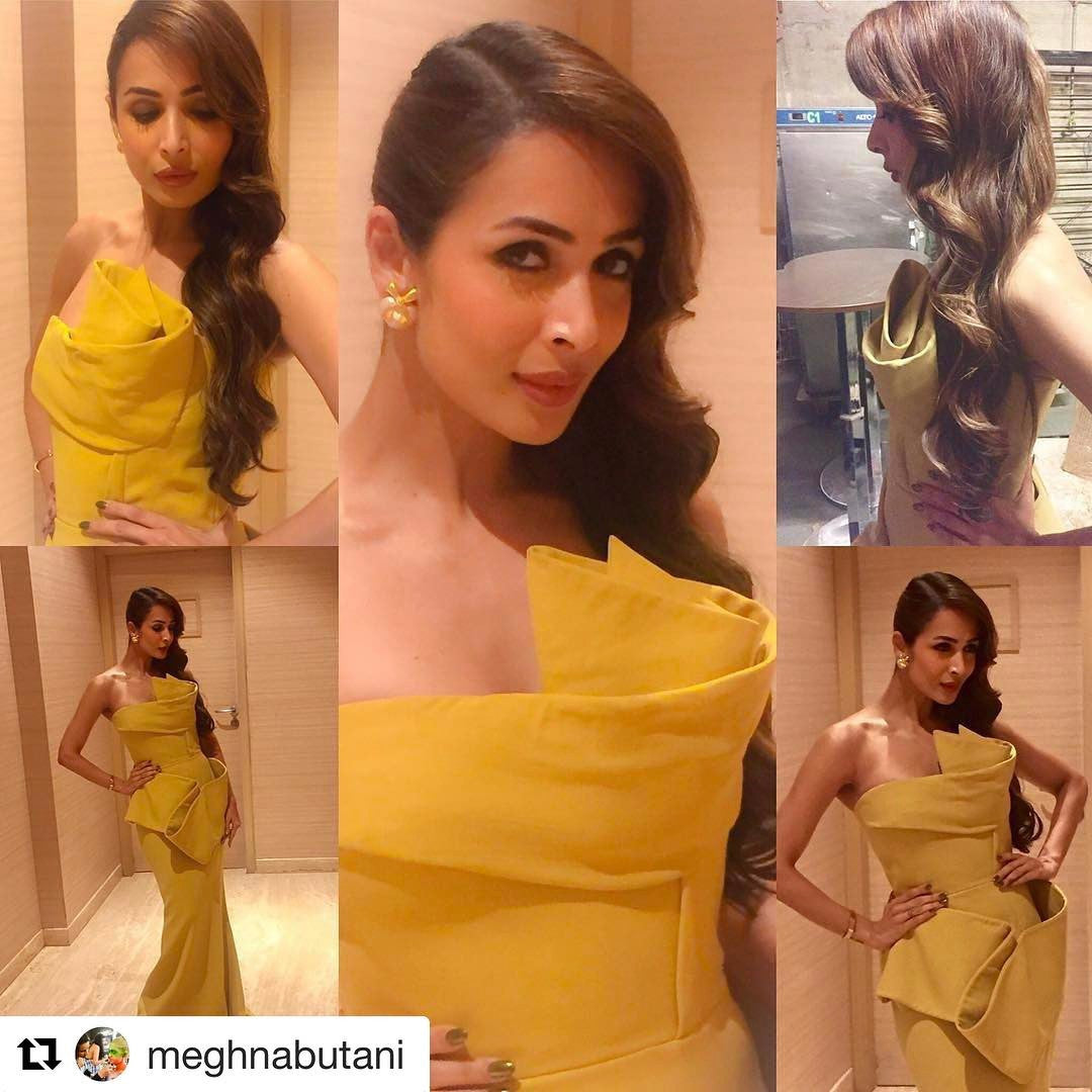 Malaika Arora Khan looked sensational in a yellow fitted gown by Azzi and Osta from their Spring 2015 Couture collection
