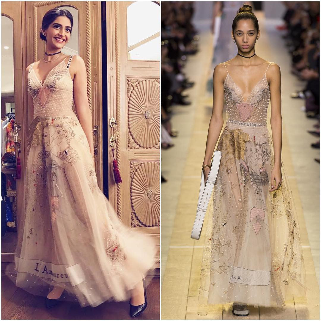 Sonam Kapoor in Dior's Spring 2017 line Collection's Maxi Gown