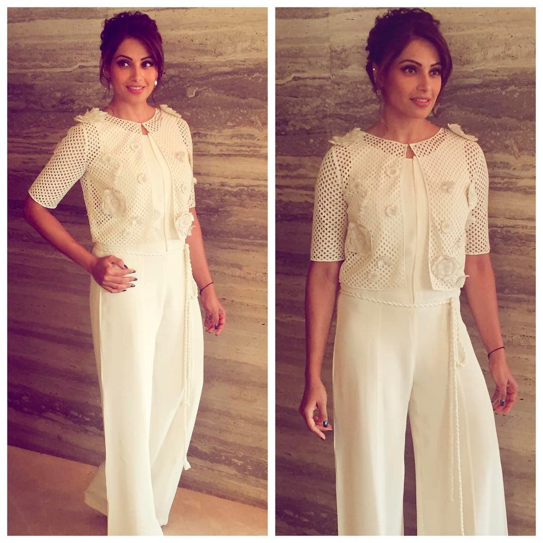 Bipasha Basu in House of Malik's Collection Spring Summer 2017 The White Rose Collection Look Book's Designer White Jump Suit