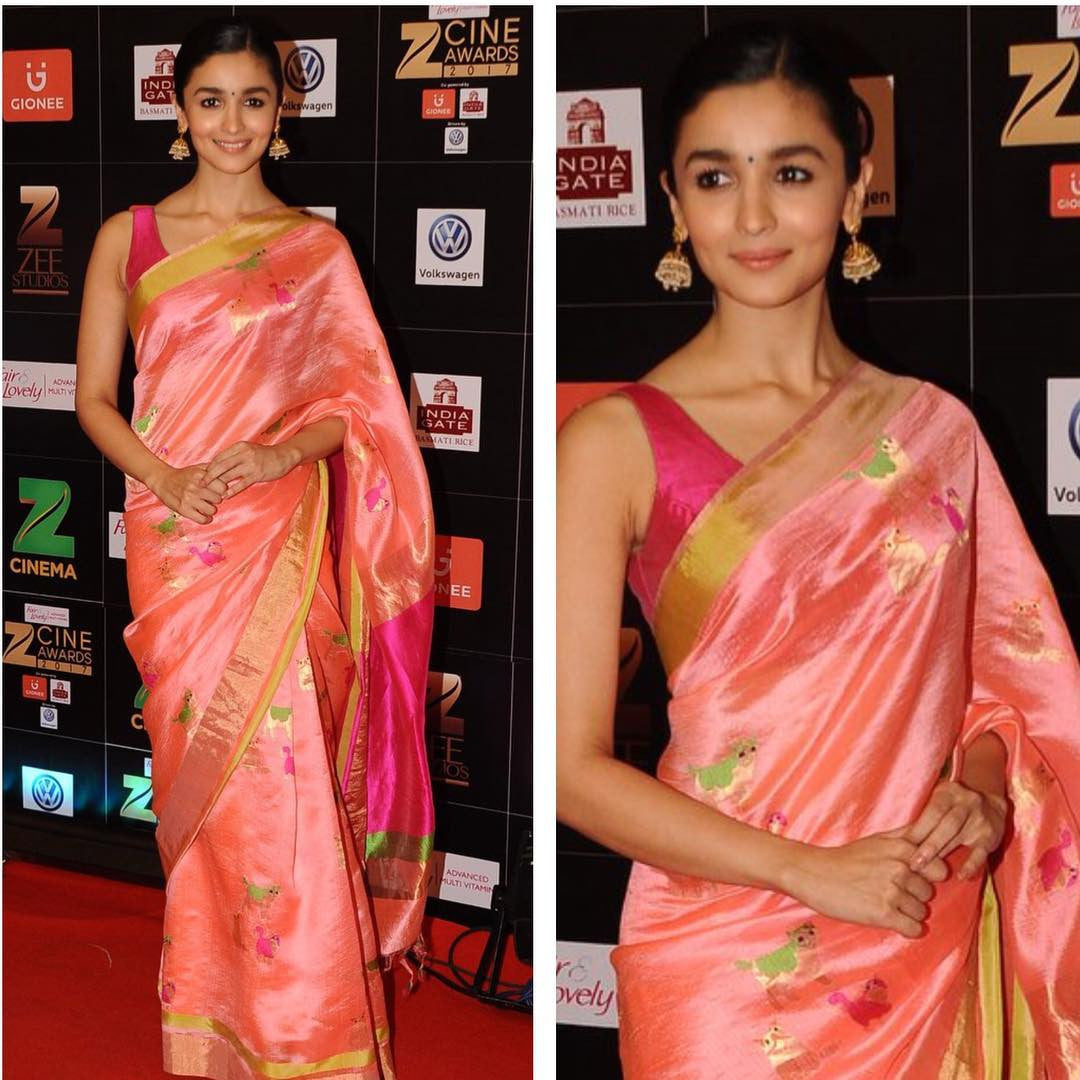 Alia Bhatt in Amex Madhurya Chanderi Silk Saree at Zee Cine Award 2017