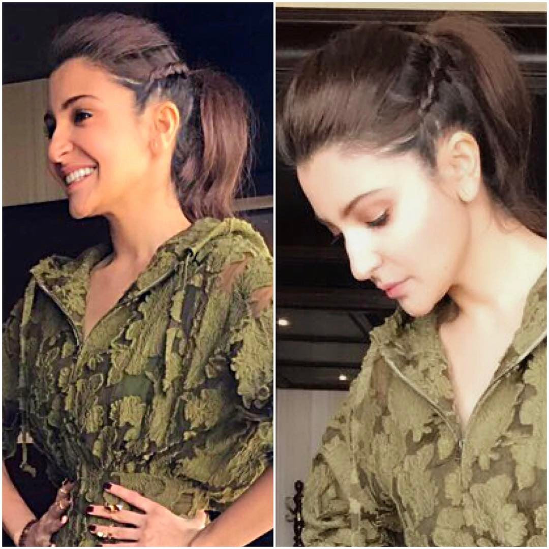 Anushka Sharma in Rosie Assoulin's Resort 2017 collection's Olive Green Midi Dress Western Wear At Her upcoming Movie Phillauri pROMOTION