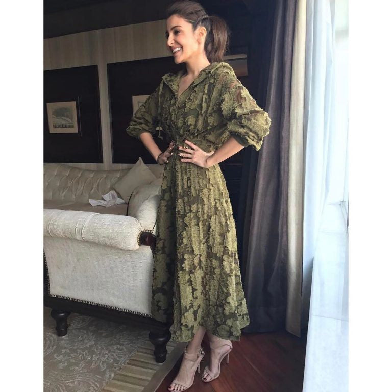 Anushka Sharma in Rosie Assoulin Resort's  2017 Collection's Olive Green Dress at her upcoming movie Phillauri Promotion