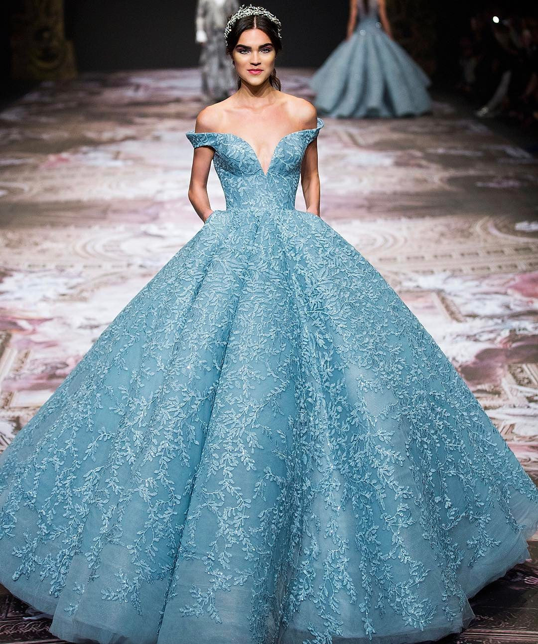 Aishwarya Rai Bachchan looked ethereal in a powder-blue brocade ball gown by Michael Cinco
