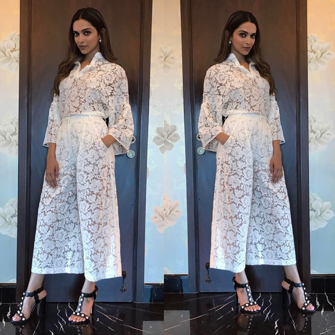 Deepika Looked Stunning in White Jumpsuit From Maison Valentino's Collection