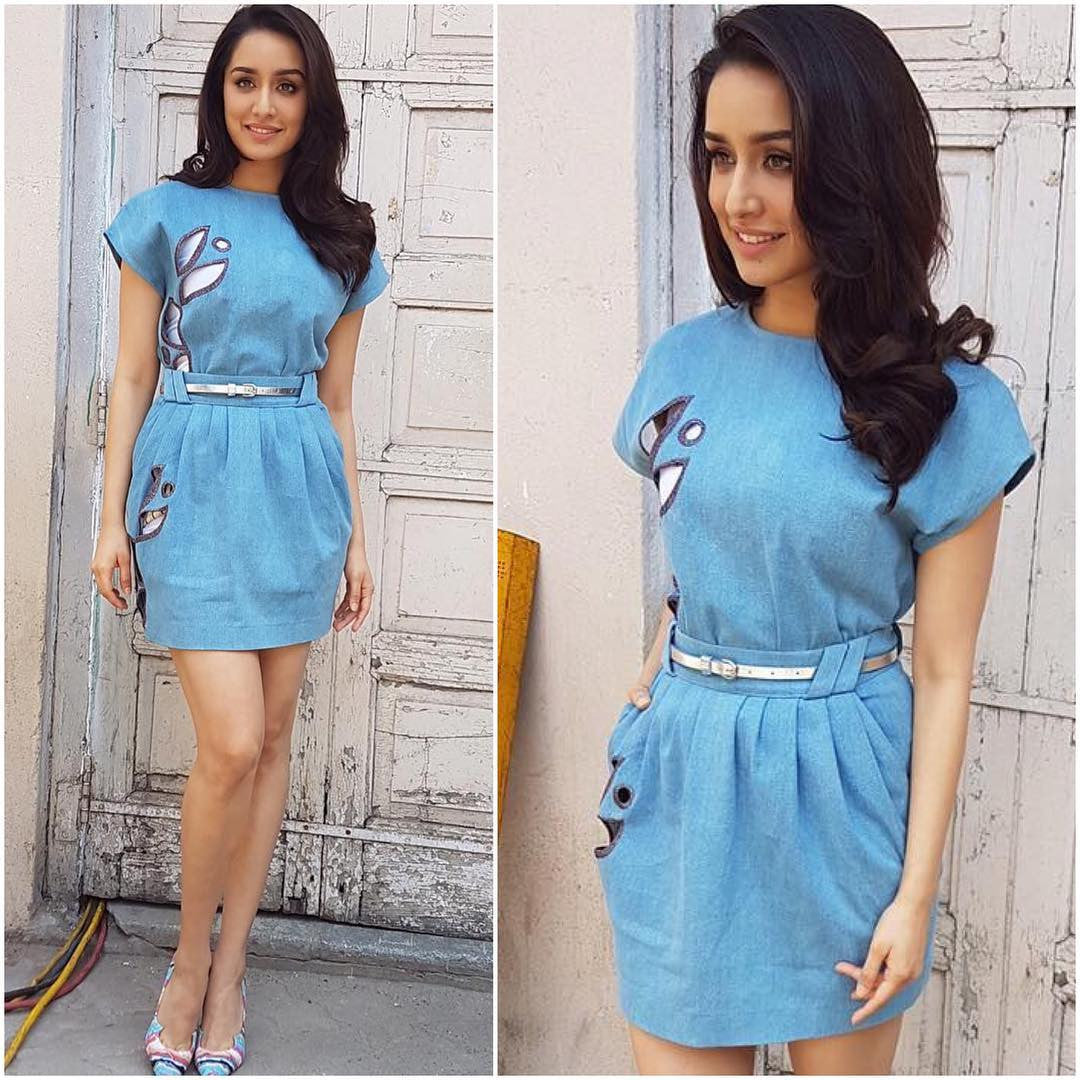 Shraddha Kapoor in Daniele Carlotta Resort 2017 Collection's Designer Denim Dress at  zoom interviews