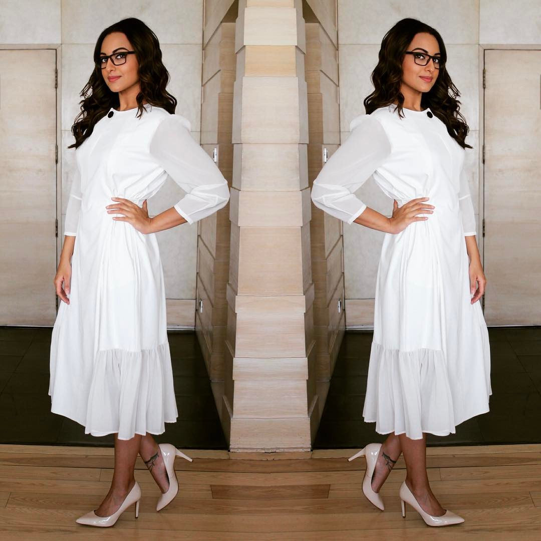Sonakshi Sinha in Lovebirds SS16 Collection's Designe white dress at Her Upcoming Movie Noor's Prmotional Event