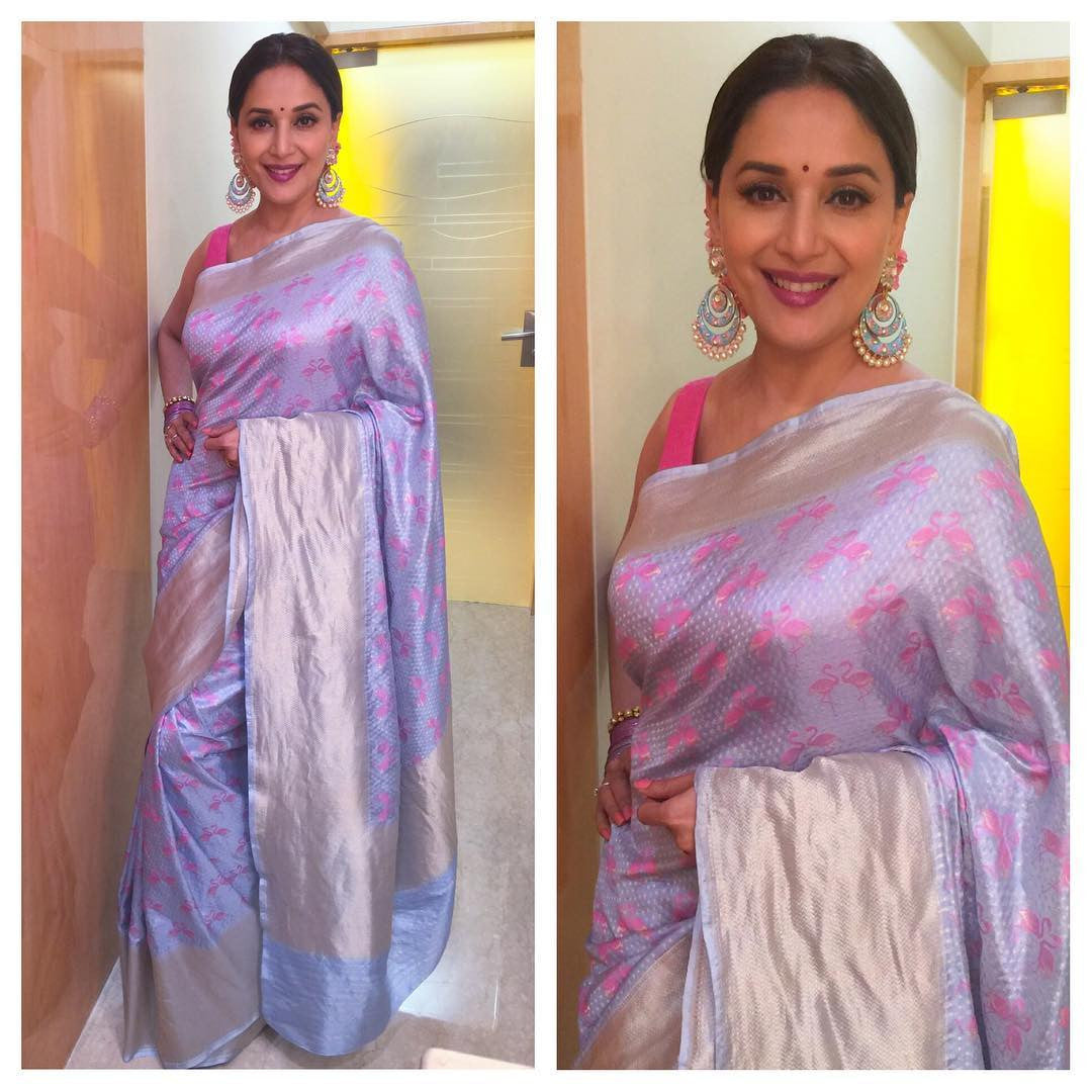 9854998f720d03 Madhuri Dixit in Looked Charming in Madhurya Creations Designer Saree –  Lady India