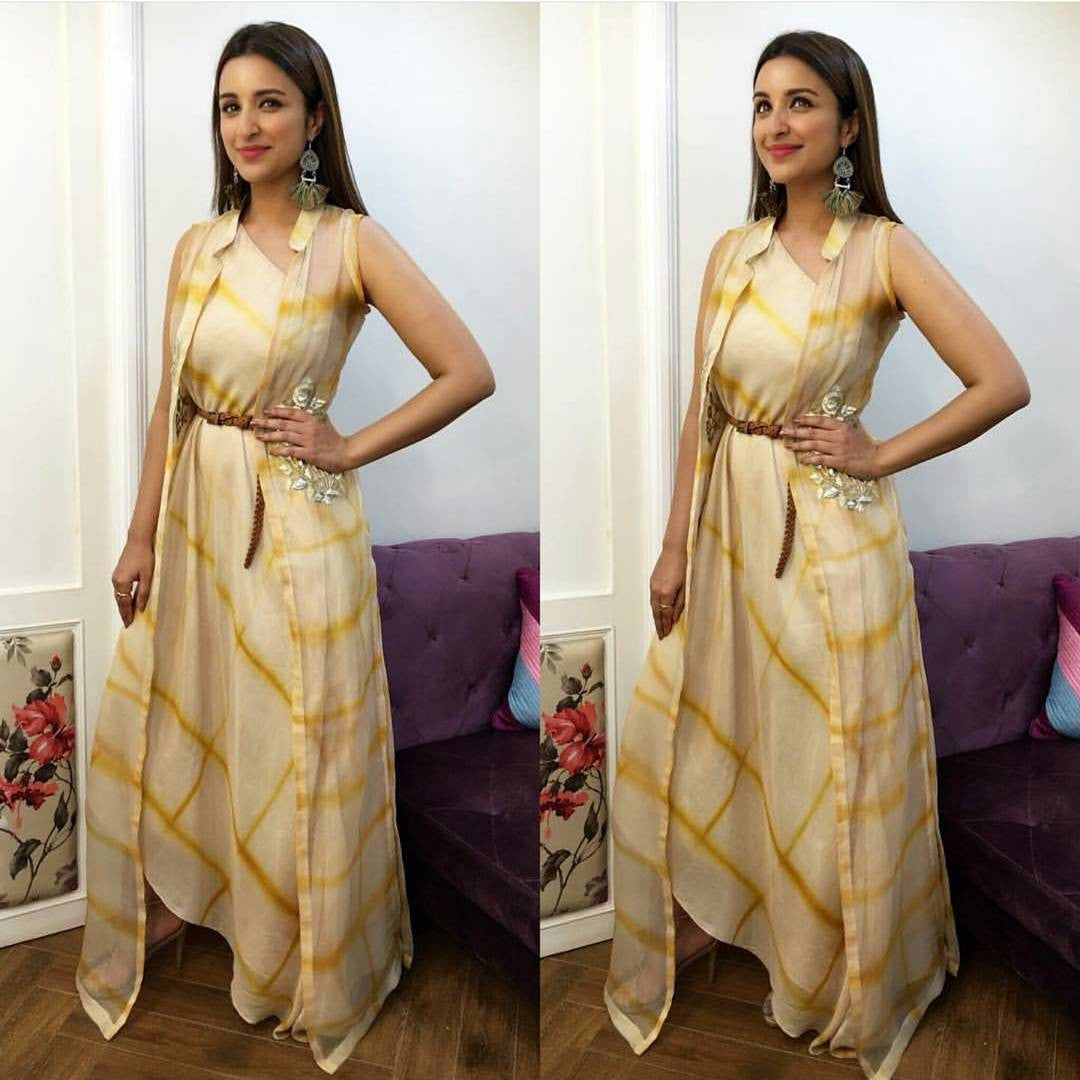 Parineeti Chopra In Anoli Shah's Checkered One Shoulder Designer Dress