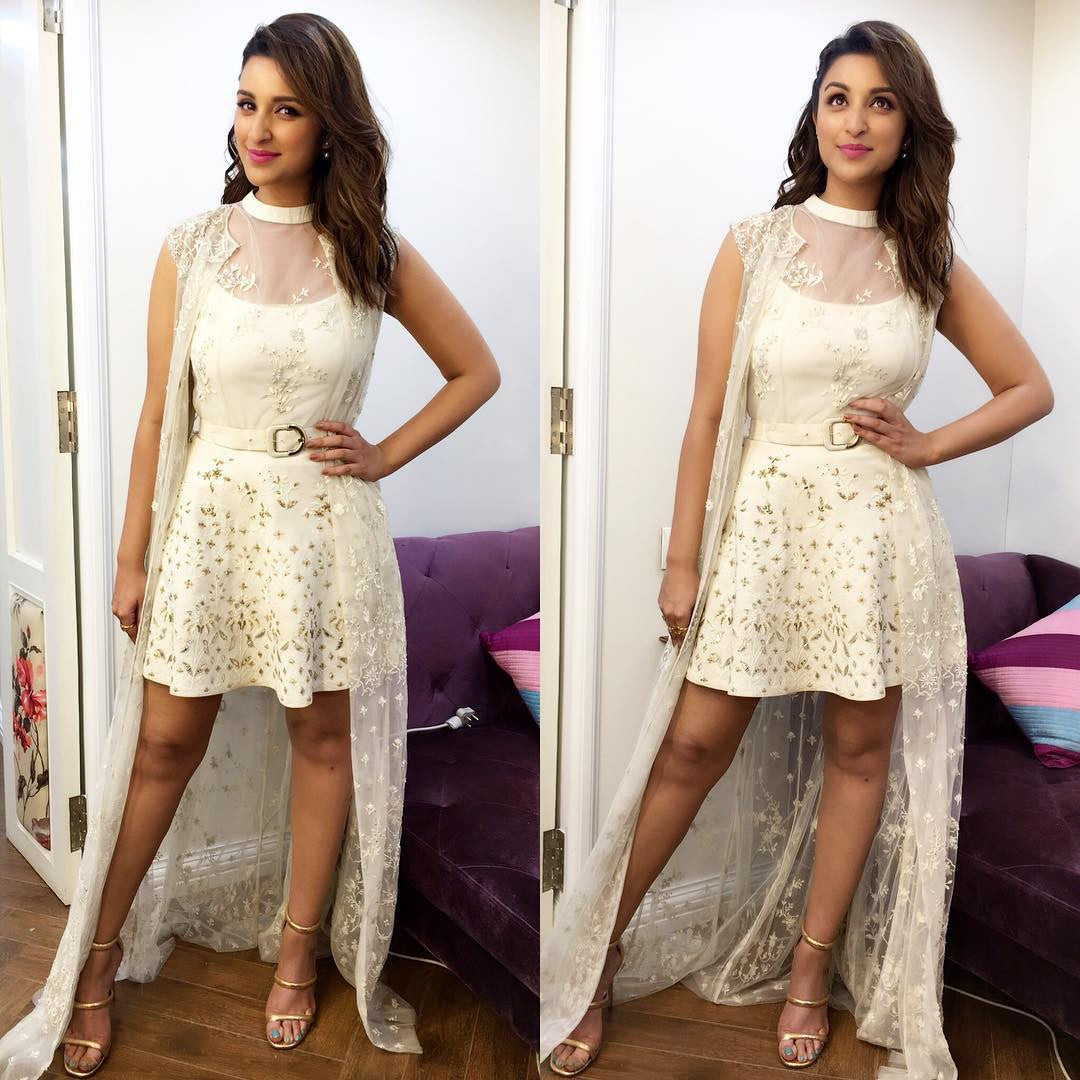 Parineeti Chopra Looked Hot in designer midi dress with long cape from Anita Dongre's SS17 Collection
