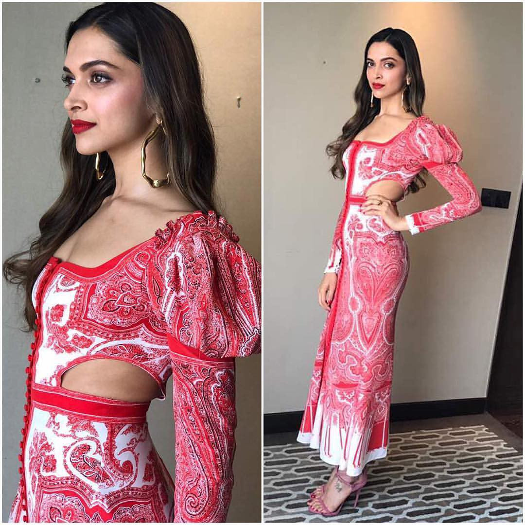 Deepika Padukone In Red & White Printed Midi Dress From Alexander Mcqueen's Spring 2017 Collection