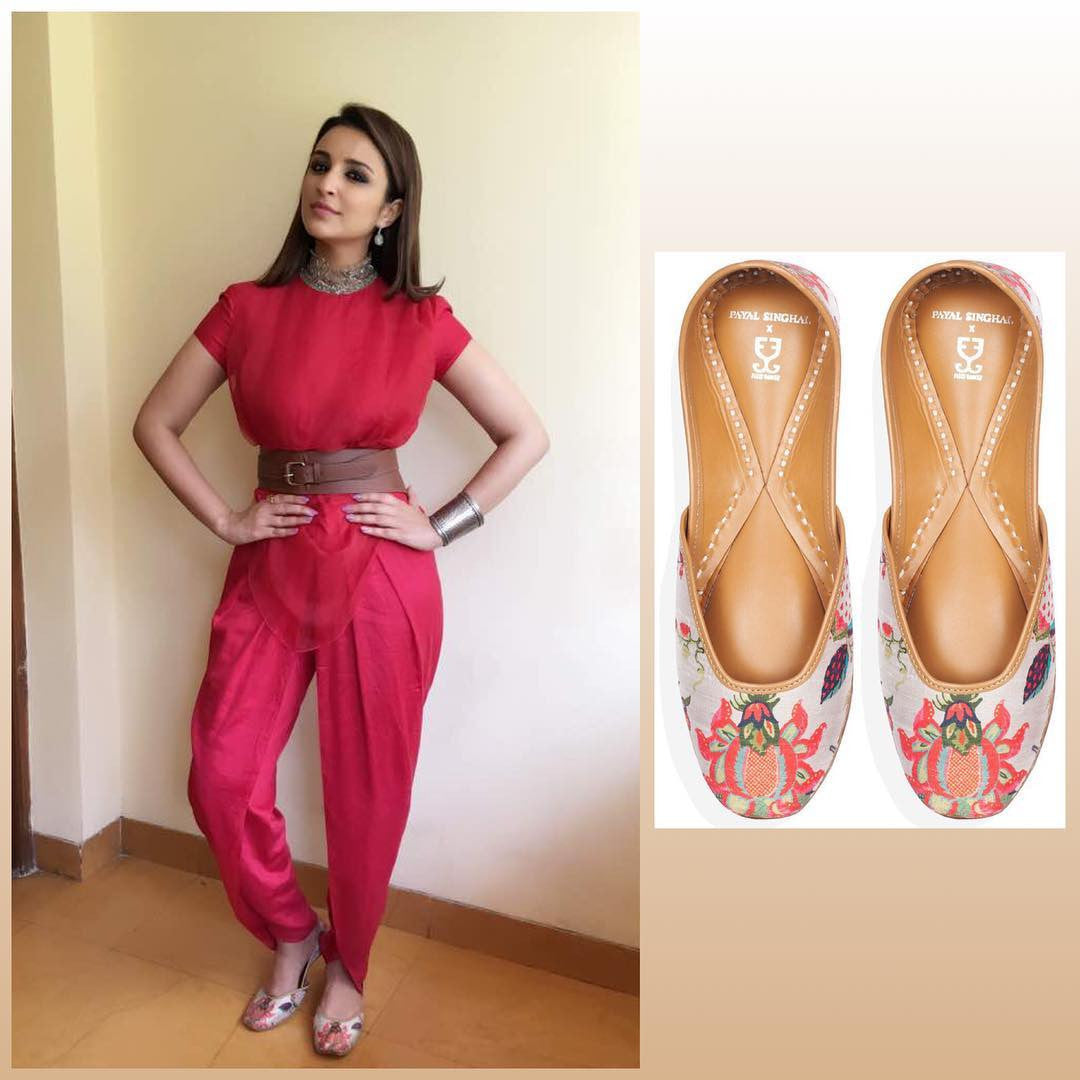 Parineeti Chopra Looked Gorgeous in Amoh Jade by Monica & Karishma's Red Jump Suit Team up With Fizzy Goblet Jutties