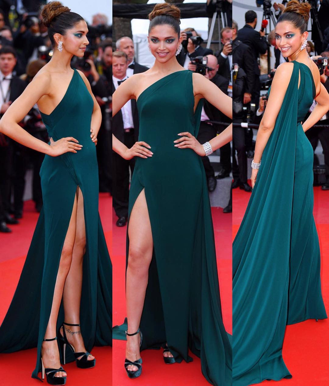 Deepika Padukone looked gorgeous in emerald green Brandon Maxwell one-shoulder gown