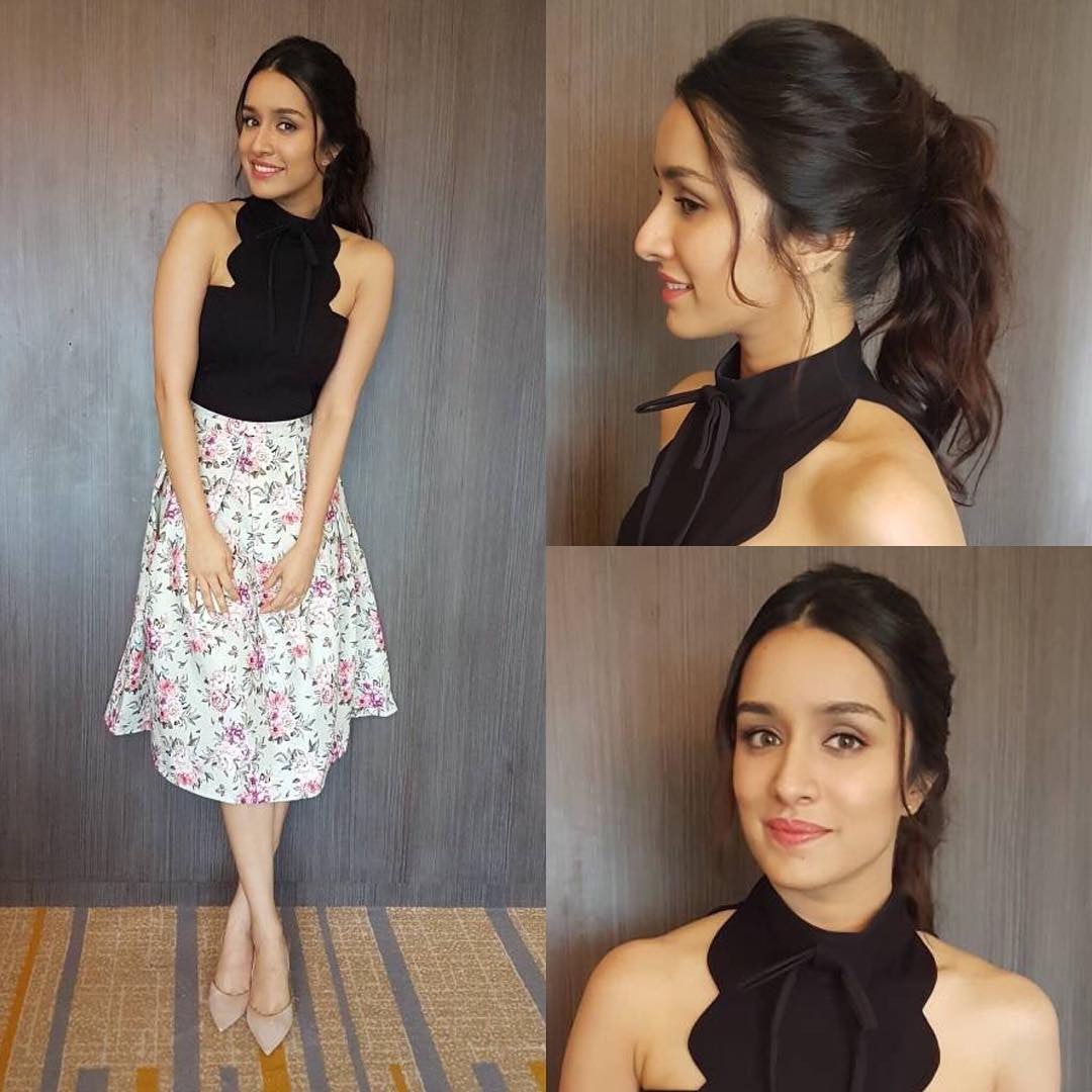Shraddha Kapoor Looked Cool In Black Top Team Up With Floral Print Skirt