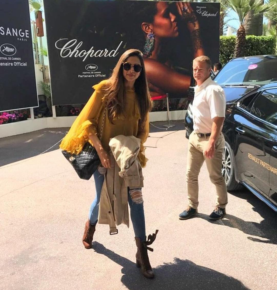 Deepika Padukone Looked Fabulous In Slim Fit  Denim & Mustard Yellow Top From Chloe At CANNES