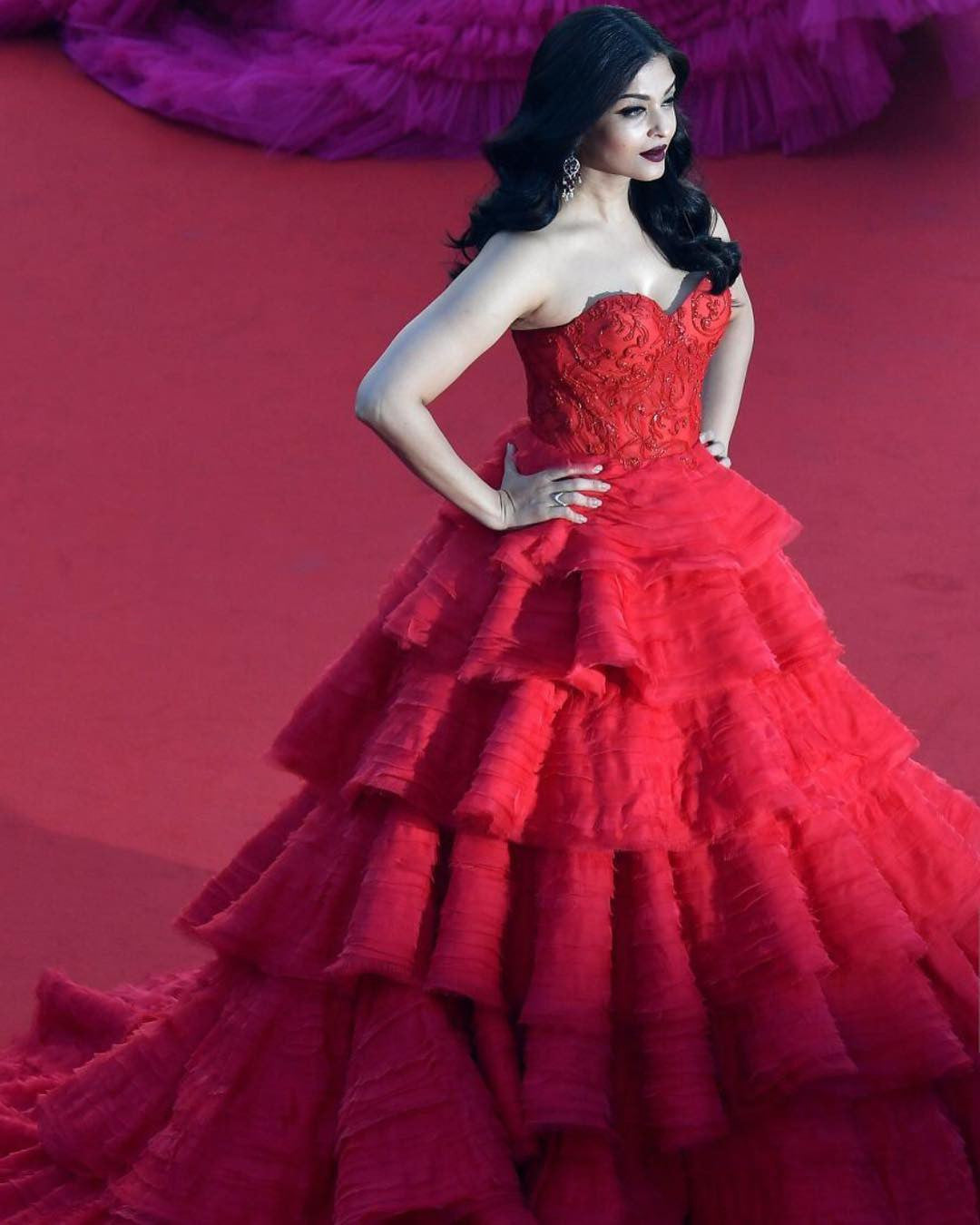 Aishwarya Rai Bachchan Looked Like A Barbie Doll In Ralph & Russo's Multi-Layered Red Gown  At Cannes Film Festival