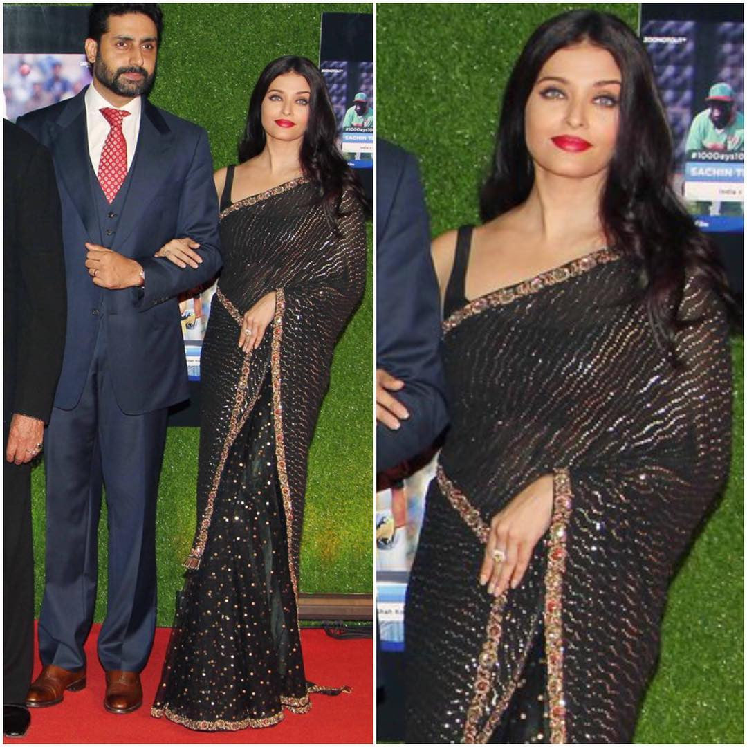 666f11951 Aishwarya Rai Bachchan Looked Classy In Black Sabyasachi Saree At ...