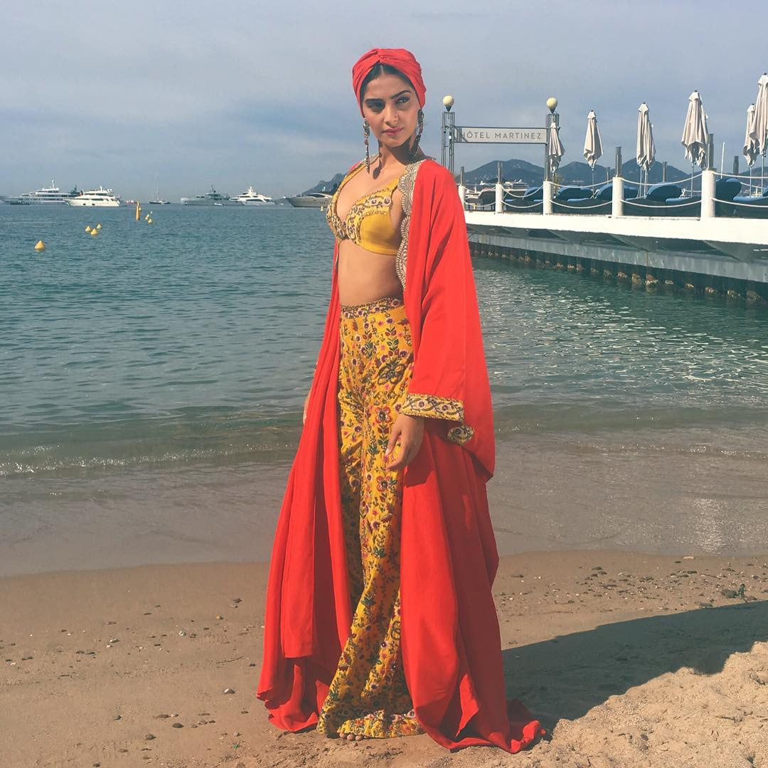 Sonam Kapoor Looked Like Refreshing Waves This morning in Anamika Khanna's Dress