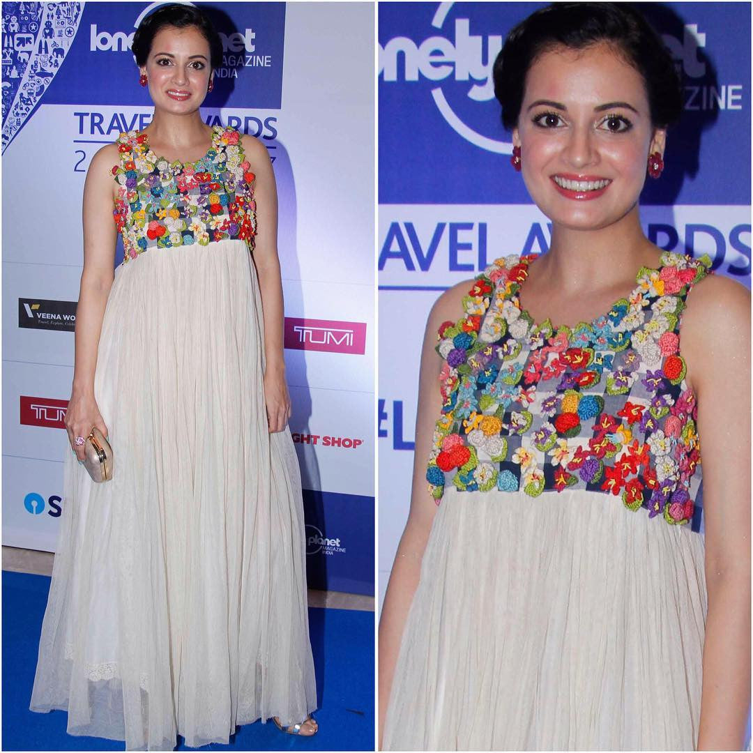 Dia Mirza Looked Beautiful In Maxi Dress By Aneeth Arora At The Lonely Planet Awards