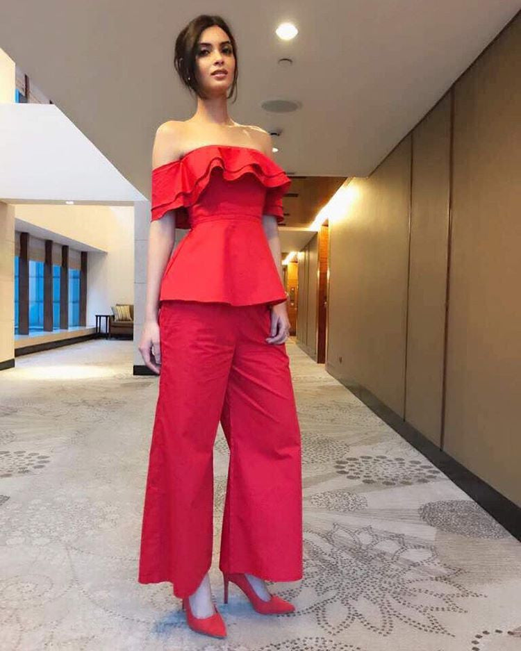 Diana Penty In Hot Red Designer Outfit By Manika Nanda