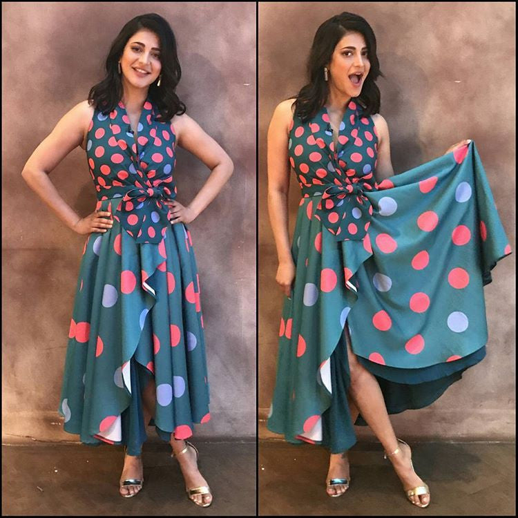 Shruti Haasan In A Polka Dot Wrap Dress By Shubhika At The Kapil Sharma Show