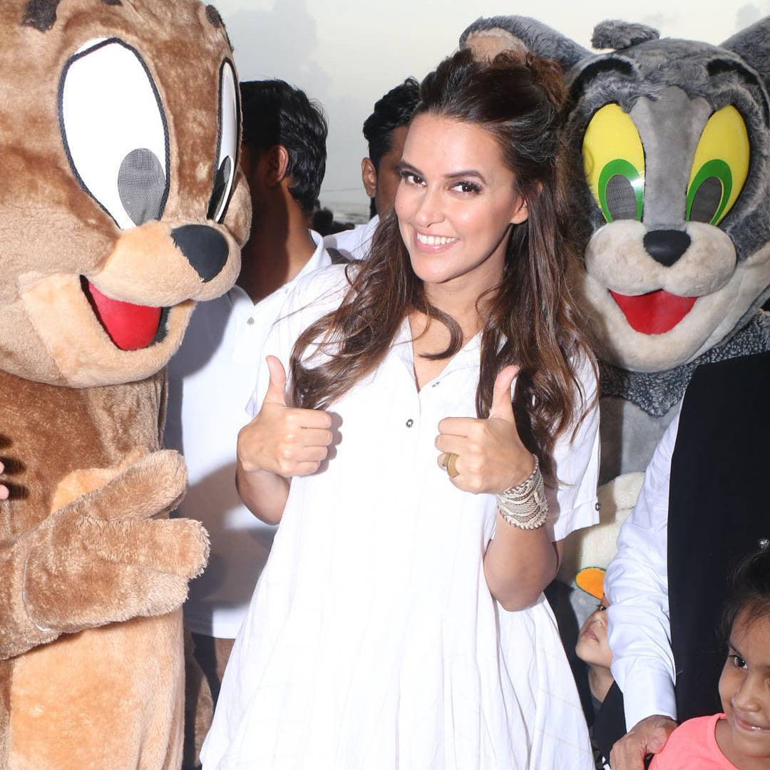 Neha Dhupia In White Dress From Chola By Sohaya At World Environment Day Celebrations
