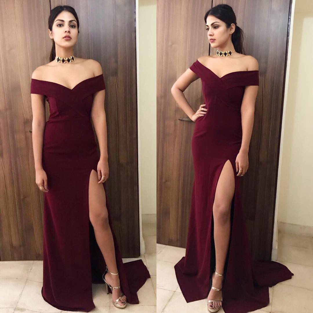 Rhea Chakraborty Looked Hot in Off Shoulder Gown By Label D