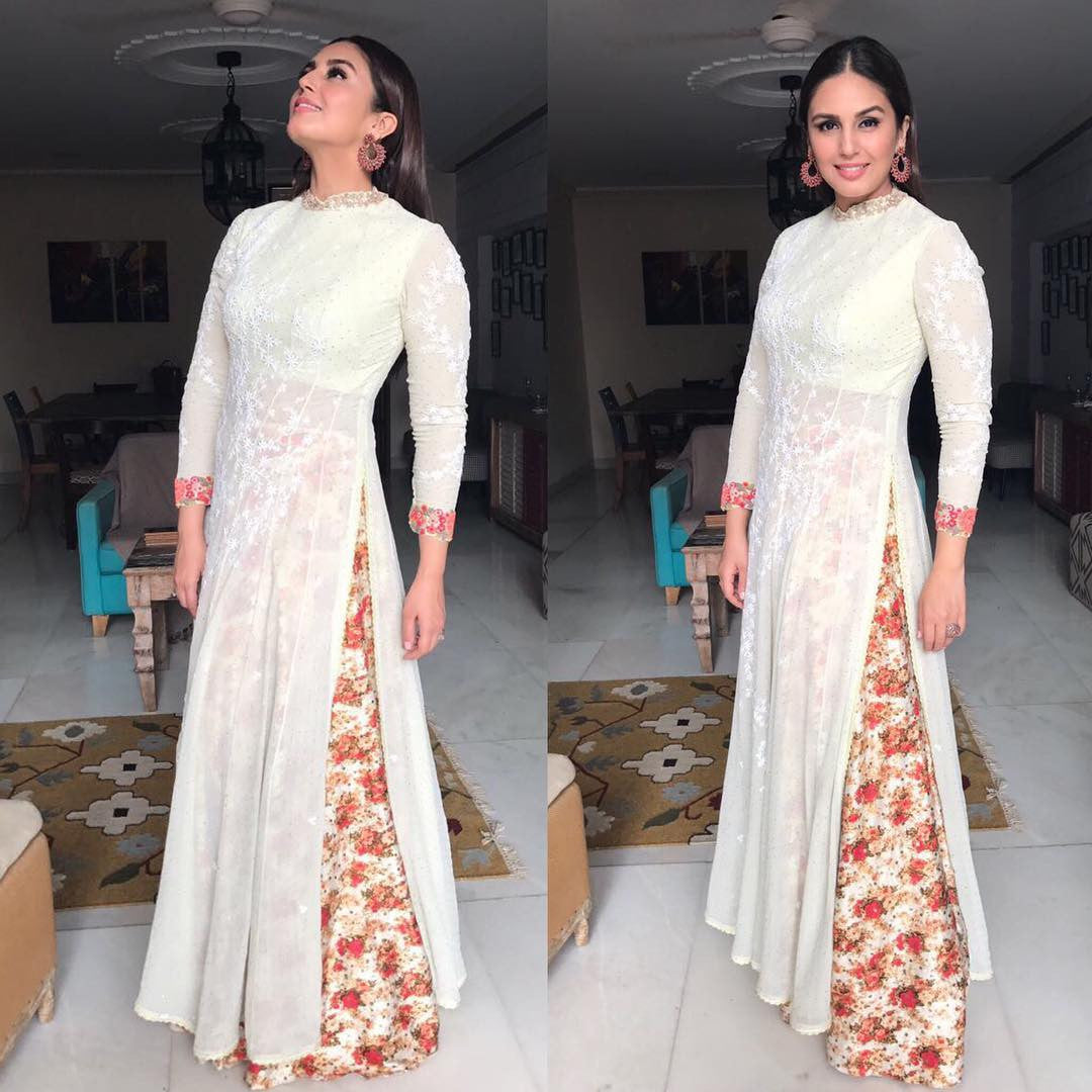 Huma Qureshi Looked Pretty In White Chikankari Kurta  Team Up With Palazzo