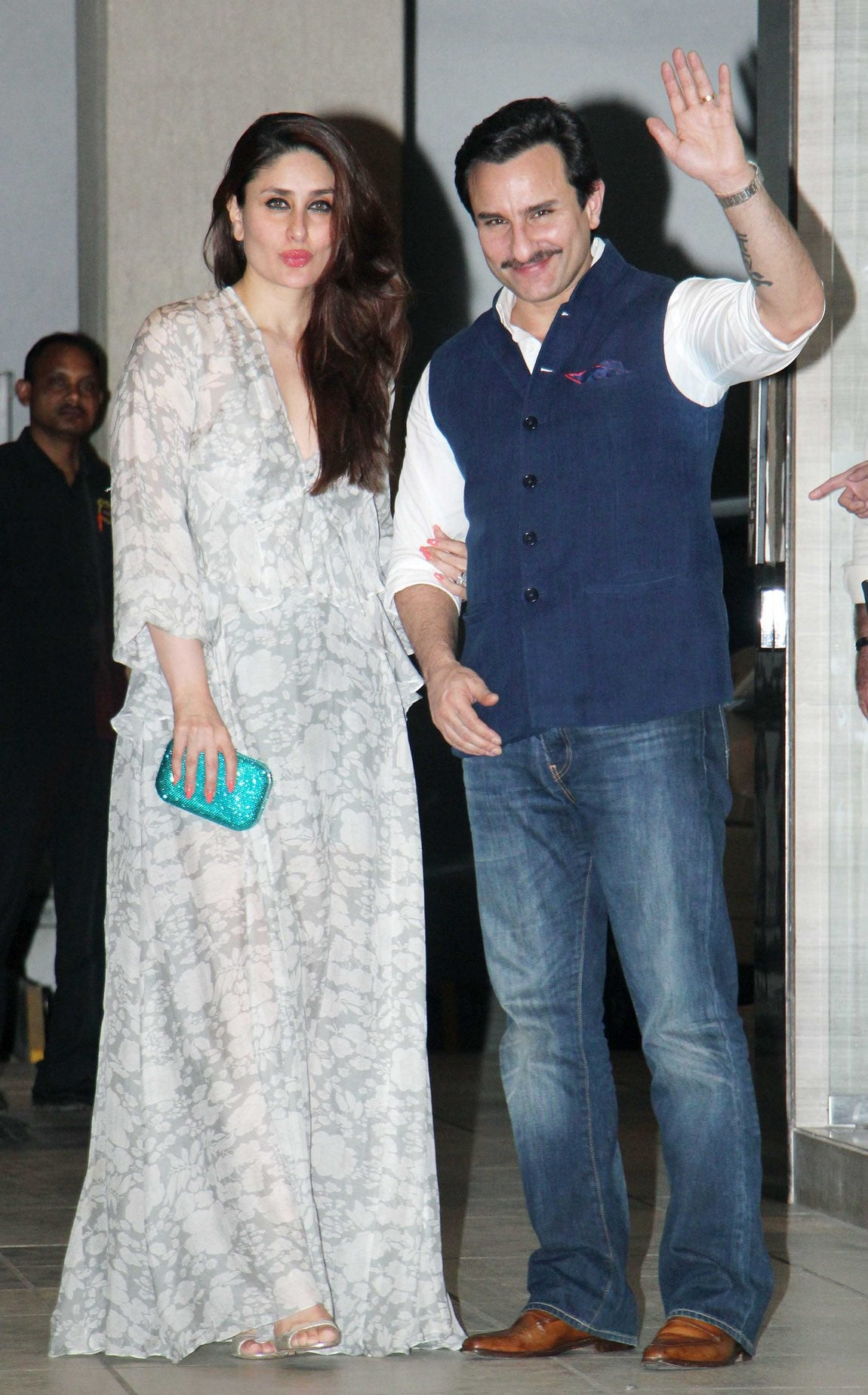 Kareena Kapoor in a printed maxi dress featuring long ruffled sleeves from Deme by Gabriella.