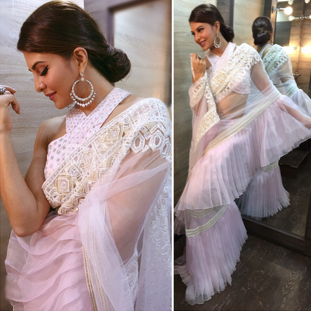 Jacqueline-Fernandez-in-palin-pink-Ruffle Sarees