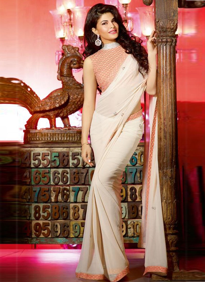 jaqline-in-saree-gown