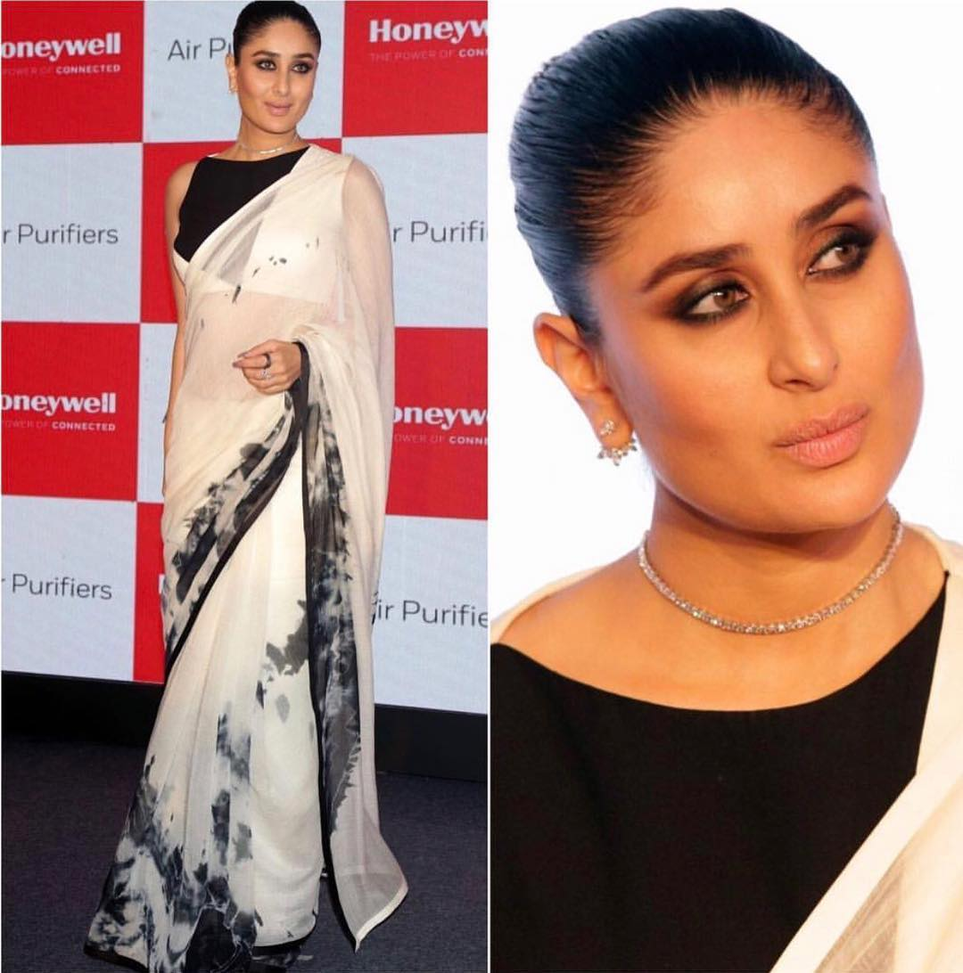 The gorgeous Kareena Kapoor Khan making it fabulously fashion forward in a monochrome saree by Bloni Atelier as their Brand Ambassador For Honeywell Air Purifier