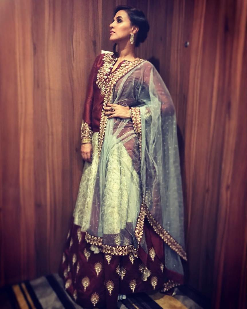 Neha Dhupia's Designer Lehenga Makes For The Perfect Outfit For This Festive Season!