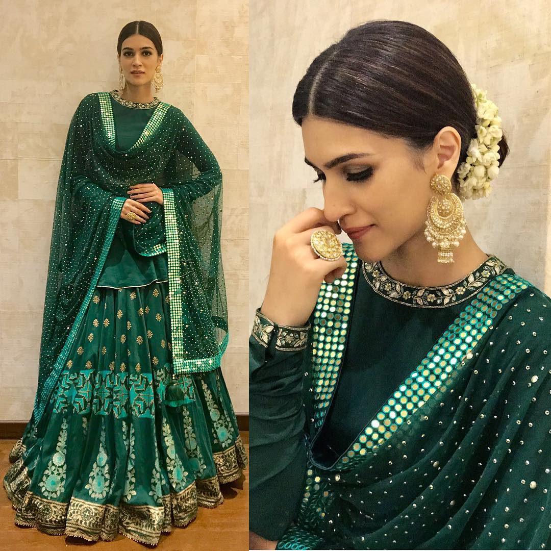 Kriti Sanon is Totally Nailing in Green Designer Lehenga By Sukriti And Aakriti
