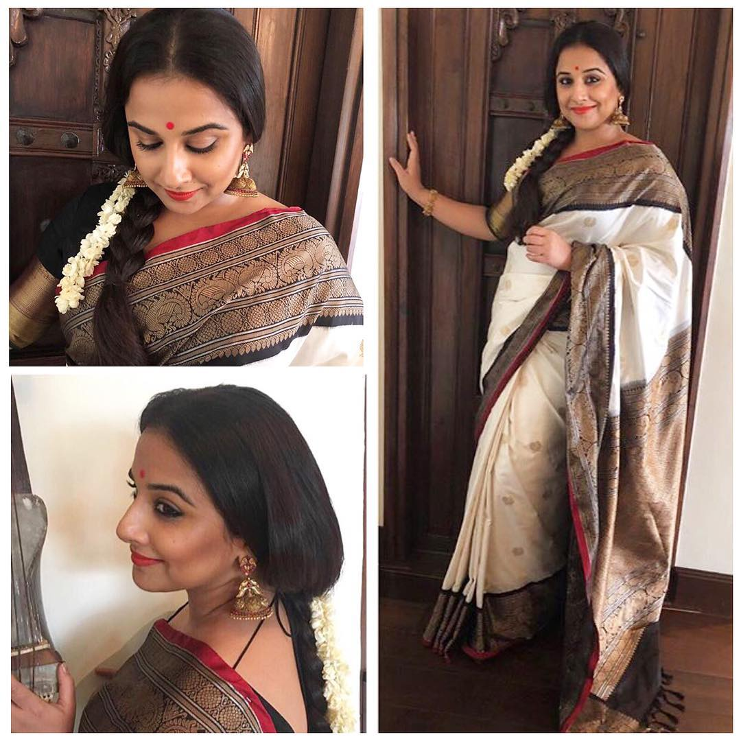 dc0e614e234f83 Recently Balan is draped in a Gaurang Shah designed kanjeevaram silk sari,  light beige with a black border, red piping and gold color thread work  without ...