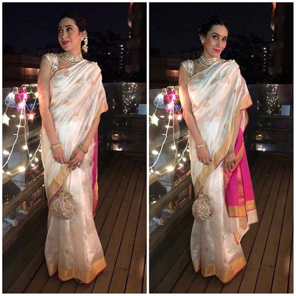 Karisma Kapoor Slays Her Traditional Avatar With White And Pink Cotton Silk Saree